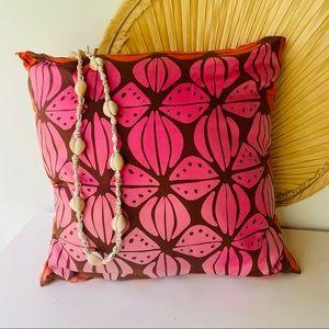 "Vintage Hawaiian Print Accent Pillow 15"" x 15"""